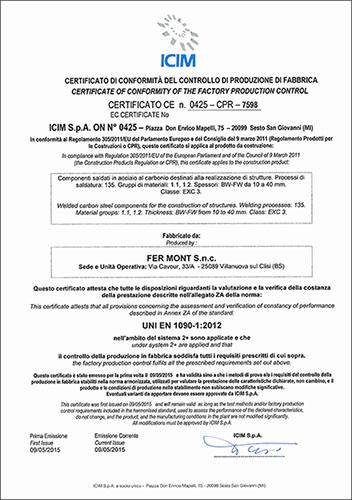 Certificazione UNI EN 1090:2015 - FER-MONT Snc